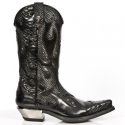 New Rock Boots - M.7952-C3 Snakeskin Effect Flame Cowboy Boots 45 DAYS CUSTOM MAKE ONLY